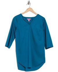 Isaac Mizrahi New York Split Neck Tunic Top - Blue