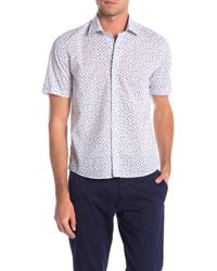 Culturata Short Sleeve Aloha Print Contemporary Fit Shirt - White