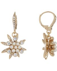 Jenny Packham | Glass Crystal Embellished With Cluster Imitation Pearl Drop Earrings | Lyst