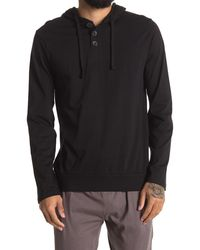 Unsimply Stitched Long Sleeve Light Weight Hooded Henley - Black