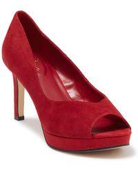 Bandolino Brayden Peep Toe Leather High Heel Pump - Red