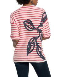 NIC+ZOE Botanical Stripe Sweater - Pink