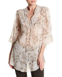 Analili - V-neck Front Tie Floral Print Blouse - Lyst