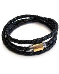 Liza Schwartz Original Triple Wrap Braided Black Leather Bracelet