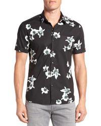 7 Diamonds - 'my Wish' Short Sleeve Floral Print Sport Shirt - Lyst