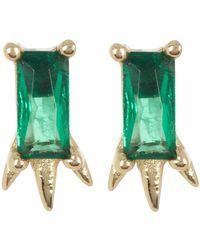 Argento Vivo 18k Gold Plated Green Crystal Stud Earrings - Metallic