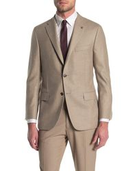 Hickey Freeman Tan Solid Two Button Notch Lapel Classic B Fit Suit Separates Jacket - Brown