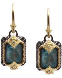Armenta - Old World 18k Yellow Gold & Blackened Sterling Silver Emerald Cut Opal & Diamond Drop Earrings - Lyst