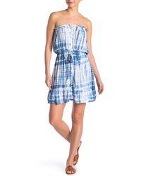 Tiare Hawaii Strapless Tie Dye Mini Dress - Blue