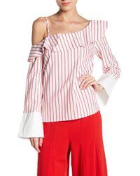 Jealous Tomato - One Shoulder Long Sleeve Striped Blouse - Lyst