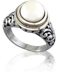 Effy Sterling Silver & 18k Gold 10mm Freshwater Pearl Ring - Size 7 - White