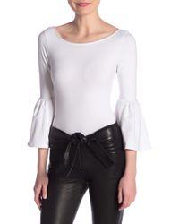FRAME Bell Sleeve Knit Bodysuit - White