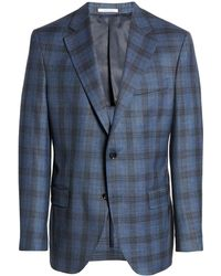 Peter Millar Classic Fit Plaid Stretch Wool Blend Sport Coat - Blue
