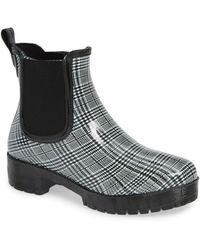 1c44b0ce5 Jeffrey Campbell - Cloudy Rain Boot Black   White Plaid - Lyst