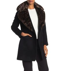 Via Spiga Leopard Faux Fur Collar Wool Blend Textured Coat - Black