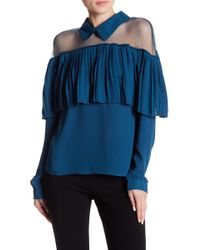 Romeo and Juliet Couture Mesh Pleated Blouse - Blue