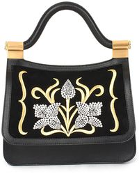 Thale Blanc Audrey Medium Imitation Pearl Embroidered Handbag - Black