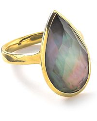 Ippolita Rock Candy Black Shell Doublet And 18k Yellow Gold Teardrop Ring - Metallic