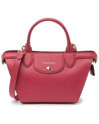 Longchamp Le Pliage Heart Mini Leather Satchel - Red
