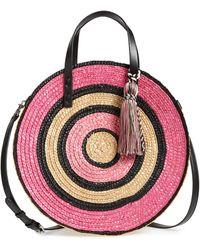 Rebecca Minkoff Woven Straw Circle Tote - Pink