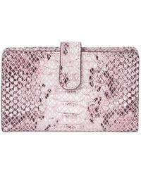 Nordstrom Kelly Snake Print Leather Card Case In Pink Cake Snake At Rack