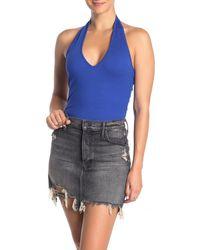 Lush Open Back Halter Bodysuit - Blue