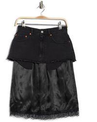 Maison Margiela Satin & Denim Lace Trim Skirt - Black