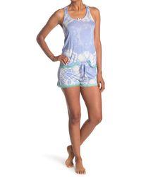 Honeydew Intimates Lace Racerback Tank & Shorts 2-piece Pajama Set - Blue