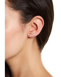 Adornia - 14k Yellow Gold Plated Swarovski Crystal Accented Wave Climber Earrings - Lyst