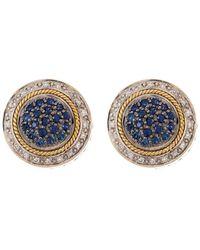 Effy Sterling Silver & 18k Yellow Gold Diamond & Sapphire Button Stud Earrings - Blue