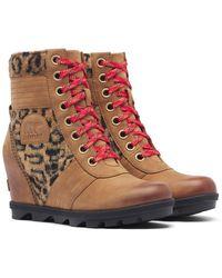 Sorel Lexie Faux Fur Panelled Wedge Boot - Brown