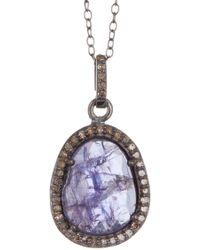 Adornia - Sterling Silver Tanzanite & Diamond Pave Pendant Necklace - Lyst