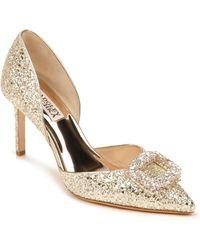 Badgley Mischka Gaiana Crystal Embellished Pointed Toe D'orsay Pump - Metallic
