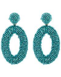 Panacea Beaded Oval Earrings - Blue
