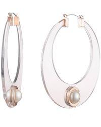 Carolee Extra Large Resin Imitation Pearl Hoop Earrings - White
