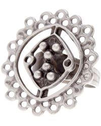 TMRW STUDIO - Antique Silver Plated Pewter Cutout Circle Adjustable Ring - Lyst