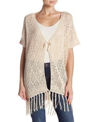 Catherine Malandrino - Fringe Trim Open Knit Short Sleeve Cardigan - Lyst