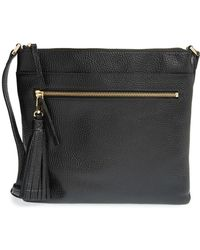 Halogen Tasselled Leather Crossbody Bag - Black