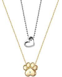 Alex Woo | Little Activist 14k Yellow Gold Diamond Paw & Open Heart 2-piece Necklace Set - 0.01 Ctw | Lyst