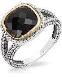 Effy Sterling Silver & 18k Yellow Gold Cushion Cut Onyx Ring - Black