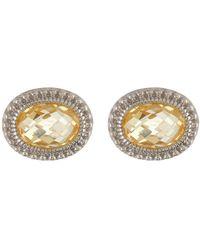 Judith Ripka - Sterling Silver Sanibel Oval Stone Stud Earrings - Lyst