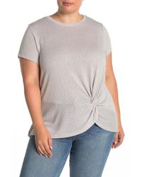 B Collection By Bobeau Short Sleeve Side Knot Solid Crew T-shirt (plus Size) - Gray