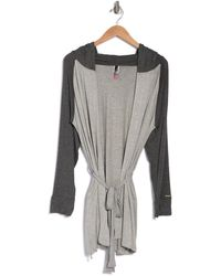 Vince Camuto Julia Colorblock Hooded Robe - Gray