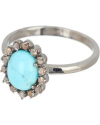 Adornia - Sterling Silver Genevieve White Diamond & Turquoise Ring - Lyst