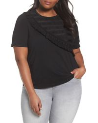 Lost Ink - Tulle Shoulder Tee (plus Size) - Lyst