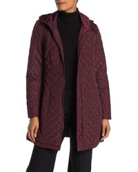 Calvin Klein Quilted Hooded Jacket - Purple