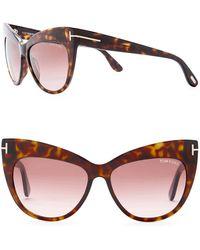 b7caa18e327 Lyst - Tom Ford Women s Kasia 55mm Cat Eye Sunglasses