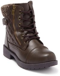 Wanted Quinn Quilted Lace-up Combat Boot - Brown