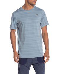 New Balance Anticipate Striped Tech T-shirt - Blue