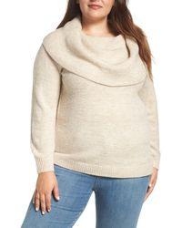 Caslon Metallic Convertible Neck Sweater - Natural